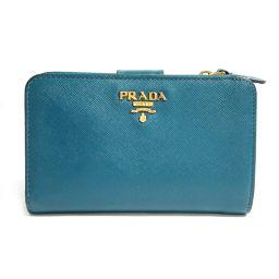 PRADA プラダ 二つ折L型ZIP財布 1ML225 グリーン サフィアーノ 【中古】【ランクB】 レディース