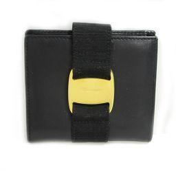 Salvatore Ferragamo サルヴァトーレ・フェラガモ コンパクト 二つ折財布 ブラック(ゴールド金具
