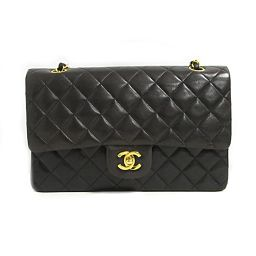 CHANEL Chanel Matrasse W flap chain shoulder bag black lambskin [pre] [rank B]