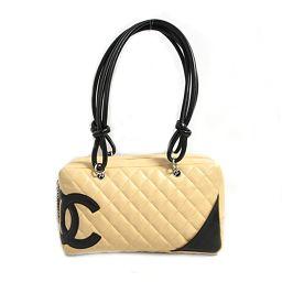 CHANEL Chanel Cambon Line Bowling Bag Shoulder Bag Beige x Black Leather [Used]
