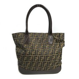 FENDI Fendi Zucca Pattern Tote Bag Dark Brown Canvas × Leather [Used] [Rank A] Mens /