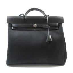 HERMES Hermes Ale Bag MM 2way Shoulder Bag Black (Silver) Silver X Canvas X
