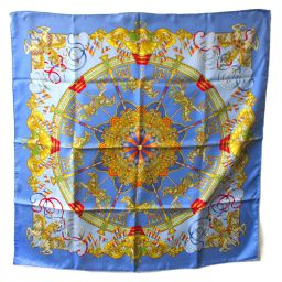 HERMES Hermes Carre 90 Scarf Blue x Gold Silk [Used] [Rank A] Ladies