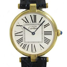 Cartier Cartier Mast Vermeil watch watch unisex gold GP × leather [used] [run]