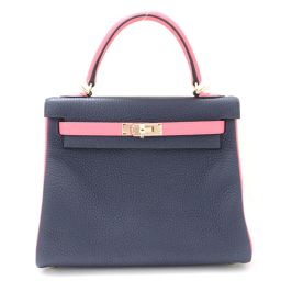 HERMES Hermes Kelly 25 SP Order Internal Stitch 2way Handbag Blue Nui x Rose Azare (