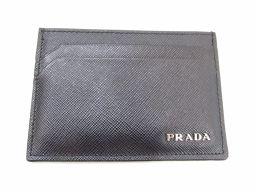 PRADA プラダ カードケース  ブラック 牛革(カーフ) 【中古】【ランクA】 メンズ/レディース