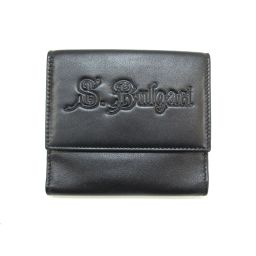 BVLGARI ブルガリ Wホック財布 二つ折り財布 ブラック レザー 【中古】【ランクA】 メンズ/レディース