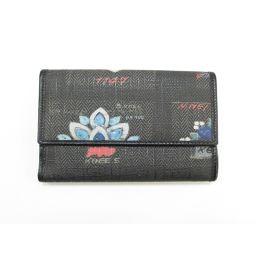 BVLGARI ブルガリ Wホック財布 二つ折り財布 ブラック×ブルー×ホワイト×レッド 塩化ビニールコーティング