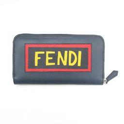 FENDI フェンディ ラウンド長財布 7M0210 ネイビー×レッド×イエロー 牛革(カーフ) 【新品同様】 メ