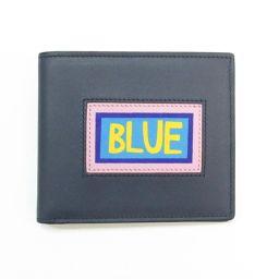 FENDI フェンディ 二つ折札入れ 7M0169 ネイビー×ピンク×ブルー×イエロー×ブラック 牛革(カーフ)