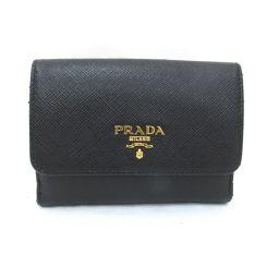 PRADA プラダ Wホック財布 1MH523 ブラック×ピンク×ホワイト 牛革(カーフ) 【中古】【ランクB】