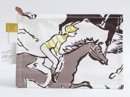 HERMES エルメス トゥルースフラットPM ポーチ ホワイト x マルチカラー コットン 【新品同様】 レディ