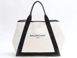 BALENCIAGA バレンシアガ ネイビーカバス ポーチ付き ベージュ x ブラック キャンバス 【中古】【ラン
