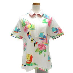 LEONARD SPORT レオナールスポーツ ポロシャツ ホワイトxマルチカラー コットン 【中古】【ランクA】