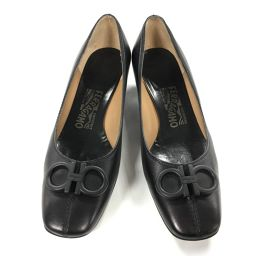 Salvatore Ferragamo サルヴァトーレ・フェラガモ パンプス 靴 ブラック レザー 【中古】【ラン