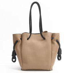 LOEWE Loewe Flamenco Knot Tote Bag 061830 Light Brown x Black Leather [Similar to new]
