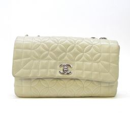 CHANEL Chanel W flap chain shoulder bag ivory (metal fittings: silver) lambskin [used]