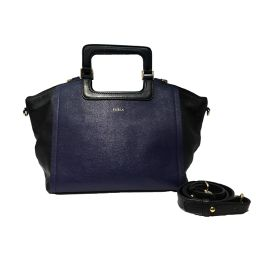 FURLA Furura 2way Shoulder Bag Blue × Black Leather [Used] [Rank A] Ladies