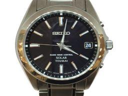 SEIKO セイコー ソーラー時計 ウォッチ SBTM217 ブラック チタン 【中古】【ランクA】 メンズ