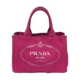 PRADA Prada Kanapat Tote Bag PM 2 Way Shoulder Bag Pink Canvas [Used] [Rank A] Les