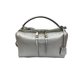 FENDI FELDI CELLE ARRAY 2WAY Shoulder Bag Silver Leather [Used] [Rank A] Men / Le