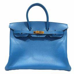 HERMES エルメス バーキン35 ハンドバッグ ブルーフランス(ゴールド金具) クシュベル □G刻印 【中古】