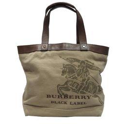 BURBERRY バーバリー トートバッグ カーキ×ブラウン キャンバス ×レザー 【中古】【ランクB】 メンズ/