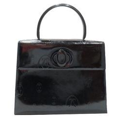 Cartier カルティエ ハッピーバースディ ハンドバッグ ネイビー エナメル 【中古】【ランクB】 レディース