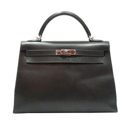 HERMES エルメス ケリー32 外縫い ハンドバッグ ブラック(シルバー金具) ボックスカーフ □D刻印 【中