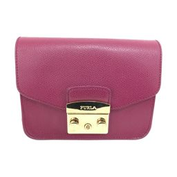 FURLA full la shoulder bag chain shoulder bag pochette purple leather [used] [rank B]