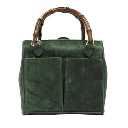 GUCCI Gucci 2WAY Shoulder Bag Green Suede × Leather [Used] [Rank B] Ladies