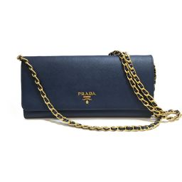 PRADA Prada Chain Wallet 1M1290 Blue Cowhide (Calf) [Used] [Rank A] Ladies