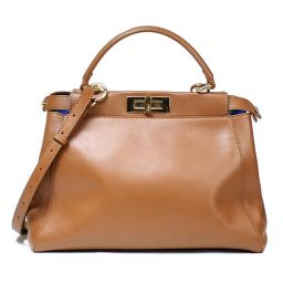 Fendi FENDI Peek-a-bo 2WAY Bag Brown Calfskin Ladies