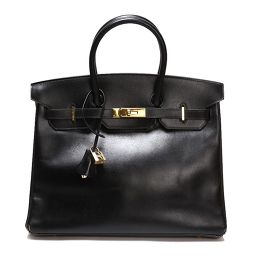 HERMES HERMES Birkin 35 Box Calf Black Gold Hardware Women's Handbag