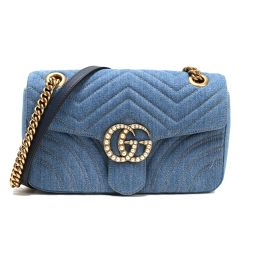 Gucci GUCCI GG Mermont Japan Limited denim shoulder bag 443497 Blue Ladies