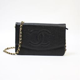 Chanel CHANEL chain shoulder wallet A 13509 black caviar skin