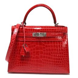 HERMES HERMES Kelly 28 Crocodile Porosas Red type ladies 2 WAY handbag