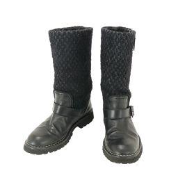 シャネル エンジニア ブーツ ツィード 37 ブラック  【小物】★