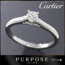 カルティエ Cartier ソリテール ダイヤ 0.19ct F/IF/3EX リング #48 【BJ】★
