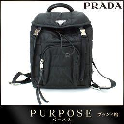未使用 展示品 プラダ PRADA ナイロン リュック サック ブラック シルバー 金具 1BZ002 【ブラン