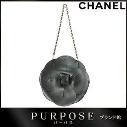 シャネル CHANEL カメリア チェーン ハンド バッグ レザー サテン ブラック 【ブランド】★