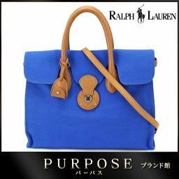 ラルフローレン RALPH LAUREN リッキー 2way トート バッグ キャンバス レザー ブルー 【ブラ