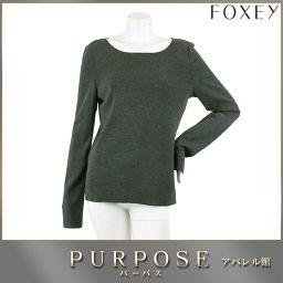 フォクシー FOXEY セーター カットソー ウール グレー 長袖 サイズ 42 レディース 【アパレル】★