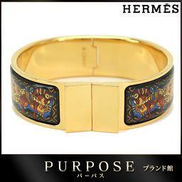 未使用 展示品 エルメス HERMES エマイユ GM バングル 七宝焼き ゴールド 【ブランド】★