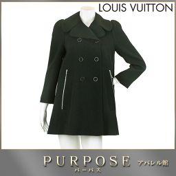 ルイヴィトン LOUIS VUITTON ウール コート アウター ブラック 34サイズ レディース LV 【ア