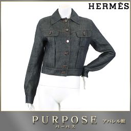 エルメス HERMES デニム ジャケット 柄 リネン シルク ネイビー 36 レディース 【アパレル】★