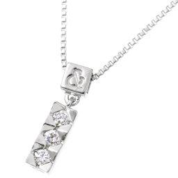 ピンキー&ダイアン ダイヤ 0.12ct ネックレス 40cm K18WG 【BJ】★