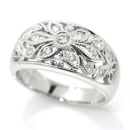 Paula POLA diamond 0.38ct Flower watermark design ring No. 13 Pt platinum dial ring [BJ] ★