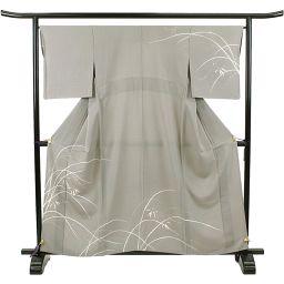 Single clothes visit clothing gray gray elegant formal silk kimono Kimono recycling ladies 【Japanese clothes】 ★