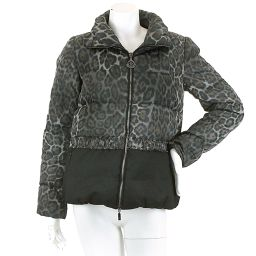 Moncler down jacket NORMECEN pattern black gray size 1 ladies 【apparel】 ★